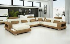 Modern Large LEATHER SOFA Corner Suite NEW Modular settee Cream & Sandbeige
