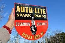 OLD STYLE AUTO LITE SPARK PLUG AUTOMOTIVE FLANGE SIGN THICK STEEL MADE IN USA!