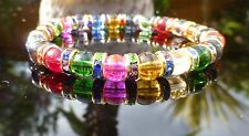 Girls Crystal Glass Rainbow Bracelet Multi Colour Jewellery