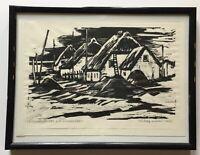 Fischerhäuser auf Hiddensee Neuendorf  Rudolf Kraus 1907 - 1988 Holzschnitt DDR