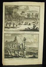 Gravure originale XVIIIe 1721 Floride sacrifice humain América USA Bernar Picart