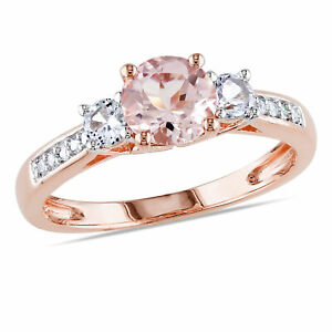 Amour 10k Rose Gold Morganite, Created White Sapphire and Diamond 3-Stone Ring
