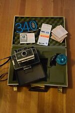 Vintage Polaroid 340 Land Camera w/ Case Flash Manual Coater and 8 Print Mounts