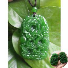 Hand Carving Jade Pendant Natural dragon Green jade statue Amulet jade Necklace