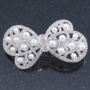 Bridal Wedding Prom Silver Tone Simulated Pearl Diamante 'Bow' Barrette Hair