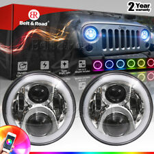 HOT Pair 7'' Chrome RGB Halo Ring DRL LED Headlight Bluetooth For Jeep JK 76-17