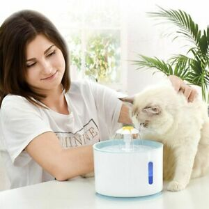 Automatic Pet Water Fountain Dispenser USB LED Ultra Quiet Cat Drinking Bowl Set