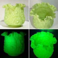 Rare Fenton Uranium Custard Glass Bowl or Vase w  Floral Design & Crimped Edges