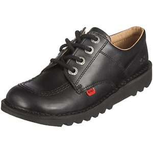 KICKERS GIRLS BLACK LEATHER SHOES UK SIZES 3,4,5,6 SCHOOL  WORK NEW STYLE