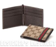 GUCCI Mens black MICRO GUCCISSIMA leather MONEY CLIP bifold wallet NIB Authentic