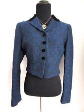 Moschino Cheap and Chic Bolero Jacket Blue | Black Floral Textured | Velvet Sz 2