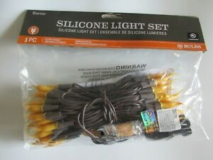 Silicone Minature Light String Set 50 Count with Brown 15 ft Cord Indoor Outdoor