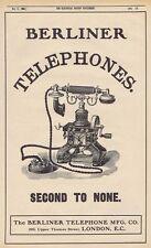 BERLINER TELEPHONE CO Second to None Phones - Antique Engineering Advert 1905