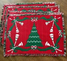 Christmas Tree Placemats Cloth Woven Set Of 4