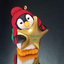 Christmas Penguin Ornament Gold Star Teacher Hallmark Keepsake 2000