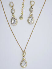 RUNWAY GOLD TONE GIVENCHY FULL RHINESTONE EARRINGS and NECKLACE SET