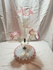 Victorian Opalescent Cranberry Pink Glass Epergne !