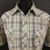 Wrangler Mens Vintage Western Shirt Pearl Snap XL Short Sleeve Regular Fit Check