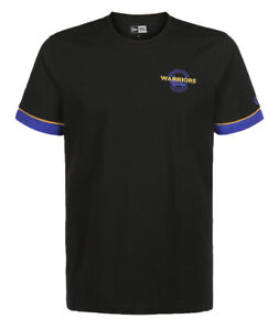 NEW Golden State Warriors NBA New Era Stripe Piping T-Shirt Black Tee