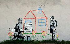 Poster for NEW Banksy Street  Art Silk Fabric 21x13 Decor 05