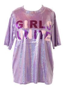 TP-172-1 Lila Metallic Glitzer Girl T-Shirt Pastel Goth Lolita Kawaii Harajuku