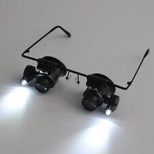 20X Lupenbrille Brillenlupe Uhrmacher Lupe Vergrößerungsglas Lupe 2 LED-Licht