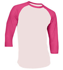 3/4 Sleeve Plain Baseball Raglan T-Shirt Tee Mens Sports Team Jersey 30+ Colors