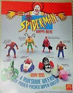 McDonald's 1994 Spider-Man Figures Complete MIP + Under 3 Toy & Bag