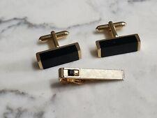 Vintage Swank Gold Black Onyx Cufflinks Tie Bar Set