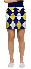 Womens Loudmouth Golf Skort 2 Blue & Gold Argyle Nwt $99 Mega Stretchtech U of M