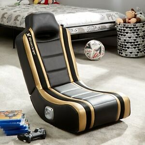 X Rocker Gaming Chair for Kids 2.0 Speakers Folding Floor Seat Shadow Gold