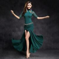 New 2019 Women Mesh Belly Dance Costume Stage Performance Club Long Dress M L