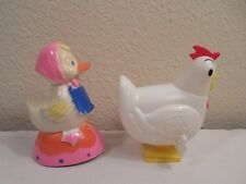 2 Plastic Toys ~ Easter Unlimited Duck Riding On Pink Egg ~ Hubba Bubba Chicken