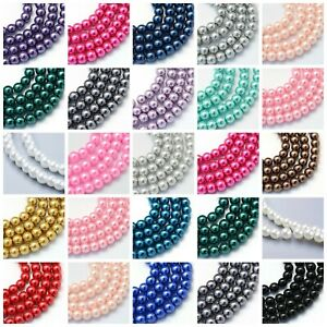 Glass Pearl Beads - 1 Strand -100 x 6mm or 50 x 8mm