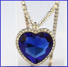 Large Crystal Heart of the Ocean Titanic Movie Necklace Sapphire Blue WHITE GOLD