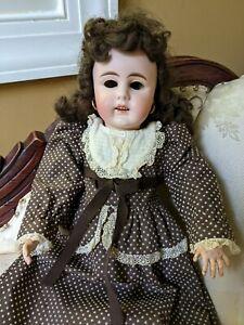 "Antique German Simon Halbig Doll With Heinrich Handwerk Body Pierced Ears 18"""