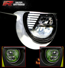 Street Legal GREEN LED Headlight DRL+Hi+Lo Beam+Cree for 07-17 Jeep JK Wrangler