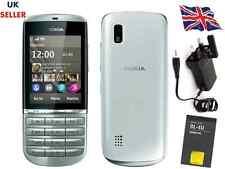 Nueva condición Nokia Asha 300 Plateado Blanco 5MP Tocuh & tipo 3G teléfono desbloqueado