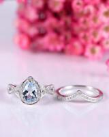 2Ct Pear Cut Aquamarine Diamond Halo Engagement Ring Set 14K White Gold Fnsh