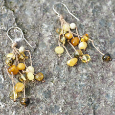 Natural Baltic Amber Earrings White Brown Beads Chandelier Silver Rustic Gift