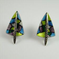 Enamel Marcasite 1950s Earrings Mid Century Handmade Atomic 835 Silver R3319