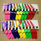 20Pcs Plastic Colors Whistle Neck Wrist Cord Sport Football Rugby Hockey Referee