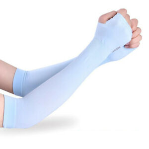 Ice Fabric Arm Sleeves Men Women's Sports UV Protection Running Cycling Driving