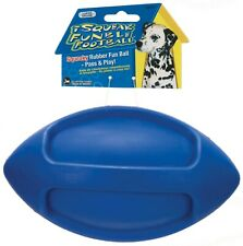 JW Pet iSqueak Funble Football Durable Dog Toy, BLUE Rubber (Non-Toxic)