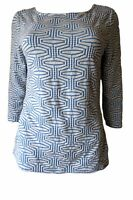 New Ex M&S Per Una Ladies Blue & White 3/4 Sleeve Casual Stretch Top Size 10- 24