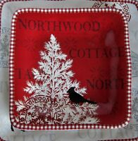 """6x 222 Fifth Northwood Cottage Christmas Tree Red Porcelain Salad Plates 8"""""""