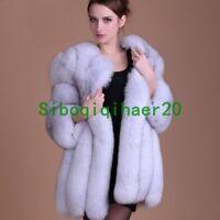 Hot Womens Mid Long Fox Fur Collar Coat Jacket Parka Winter Warm Stylish Outwear