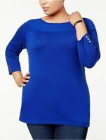 Karen Scott Womens Ladies Bright Blue Boat-Neck Pullover Sweater Plus Size 0X