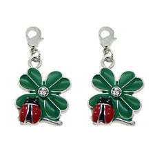 12pcs Enamel Clover Ladybug Pendant Necklace Bracelet Jewelry Making Accessories