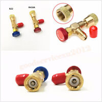 2*Safety Valve Refrigeration Charging Adapter R22/R410A For Air Condition Repair